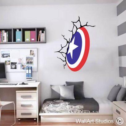 Captain America Shield, marvel, super heroes, cracked wall, boys room decor, playroom decor, gaming decor, comics, stickers, tattoos, decals, vinyl