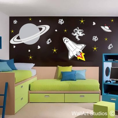 Space Shuttle, Saturn Astronaut Theme, stars, planets, asteroids, alien ship, boys room decor, playroom decor, vinyl, removable, stickers, decals, tattoos