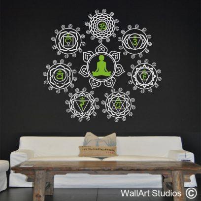 Chakra Meditation Mandala Wall Decal, yoga, symbols, spiritual,wall art, stickers,decor,7 chakras,ohm,vinyl, removable, sahasrara,anja, vishuddha, anahatha, manipura, swadisthana, muladhara