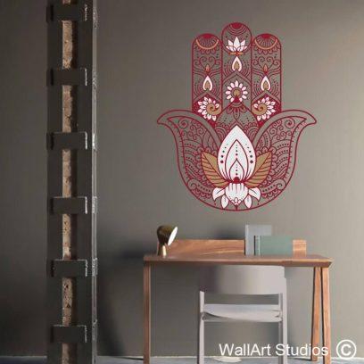 Hamsa Buddhist Lotus Hand Wall Sticker, vinyl wall tattoo, decal, yoga, spiritual, henna,stencil, decor, decorative, large wall murals