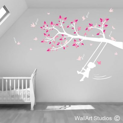 Little Girl Swinging on Tree Branch, birds, music notes, girl room decor, stickers, vinyl, decals, wall tattoos, custom, personalised, personalized wall decal, butterflies