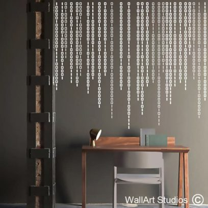 Binary Code Matrix Wall Decal, programming, coding, wall stickers, it, technology, wall tattoo, matrix, decorative, computer code, barcode, scan, scanner, office