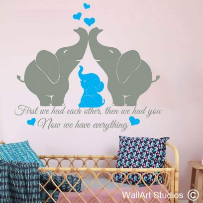 Elephants Nursery Wall Sticker, wall quote, wall poetry, wall tattoos, stickers, decals, love, hearts, baby room decor, nursery decor, kids wall stickers