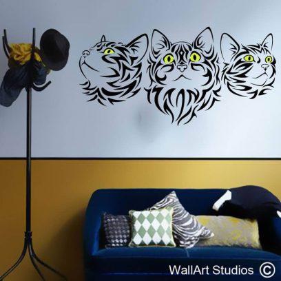Cats Tribal Tattoo wall decal, cat, kittens, feline, decorative, wall stickers, wall tattoo, tattoo, tribal, home decor, pets, wall art