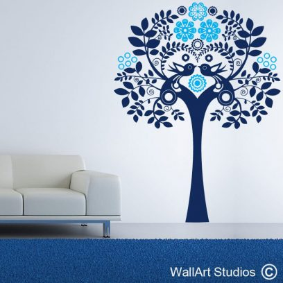 Decorative Delft Tree Wall Decal, trees wall stickers, dainty delft, blossoms, birds, vinyl tattoos, removable wall stickers, flowers, curly, swirly, home decor, bathroom decor
