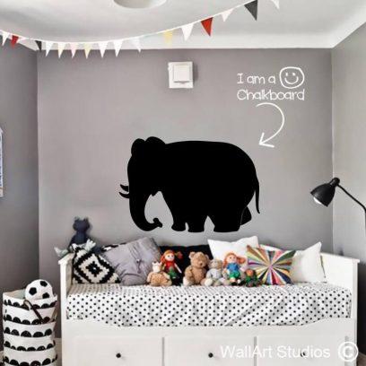 Chalkboard Elephant Wall decal, vinyl chalkboards, blackboard vinyl, kids room decor, cute chalkboard, farm animals, jungle stickers, wall stickers, writable vinyl blackboards, school decor, playroom wall decor, elephants, fun wall stickers