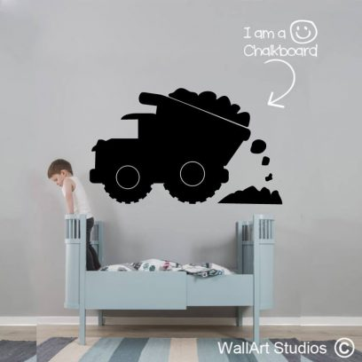 Chalkboard Construction Truck Wall Sticker, vinyl blackboards, office whiteboards, home planners, removable vinyl, wall stickers, wall decals