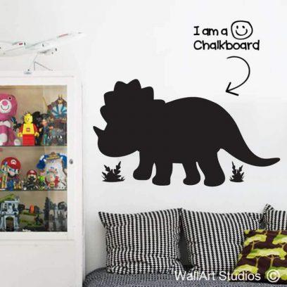 Chalkboard Triceratops Dinosaur Wall Sticker, dinosaurs, blackboard, chalk, decals, stickers, tattoos, removable vinyl, kids wall decor, educational