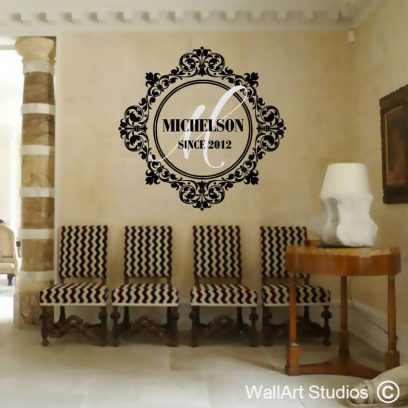 Baroque Monogram Wall Decal, damask pattern, initial vinyl stickers, Initial Letters, Family Crest, Wall Decor, decorative wall tattoos, wall art studios, custom wall decals, personalized wall stickers