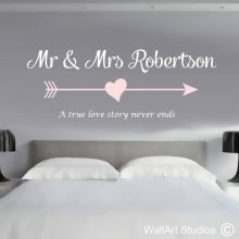 Love Story Family Monogram Wall Decal, wedding vows, wedding decals, marriage vows, wall stickers, personalized wall decor, custom wall decor, home decor, bedroom walls, vinyl stickers, vinyl decals, wall murals, wall art, wall art studios, event planners, wedding planners, wedding decor, event decor