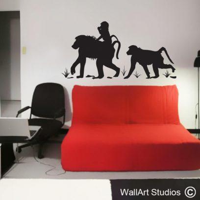 Baboon Family Wall Art Decal, monkeys, baboons, animal wall stcikers, africa, game lodge, baboon matters, baboon troop, wall art, wall stickers, vinyl decals, custom, wall art studios, monkey, nature, illustration, home decor, wall decor, wall murals