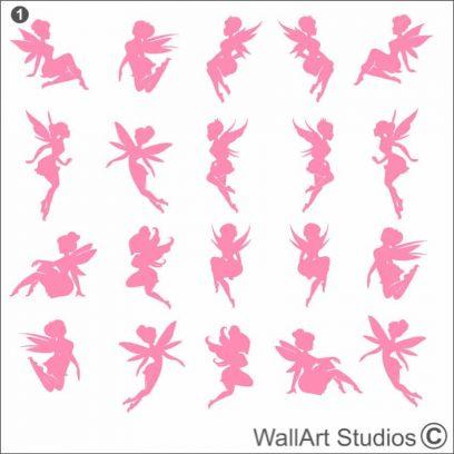 Little Fairies Wall Stickers, DIY wall decals, fairy, girls room decor, tinkerbell, fairy's, faeries, fantasy, wall tattoos, wall art, fun, cute, adorable