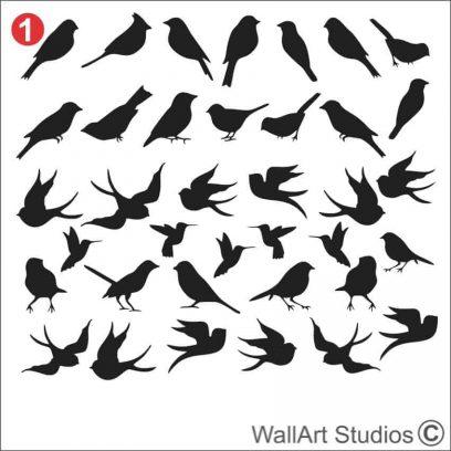 Birds Wall Art Stickers, nature wall decals, custom wall tattoos, swallow, hummingbirds, robin, seagulls, doves, pigeons, home decor,