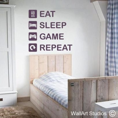 Eat Sleep Game Repeat Wall Decal, playstation, niinetendo, xbox, pd games, gamers, wall stickers, wall art, home decor, wall decorations, boys room ideas, man cave, games room