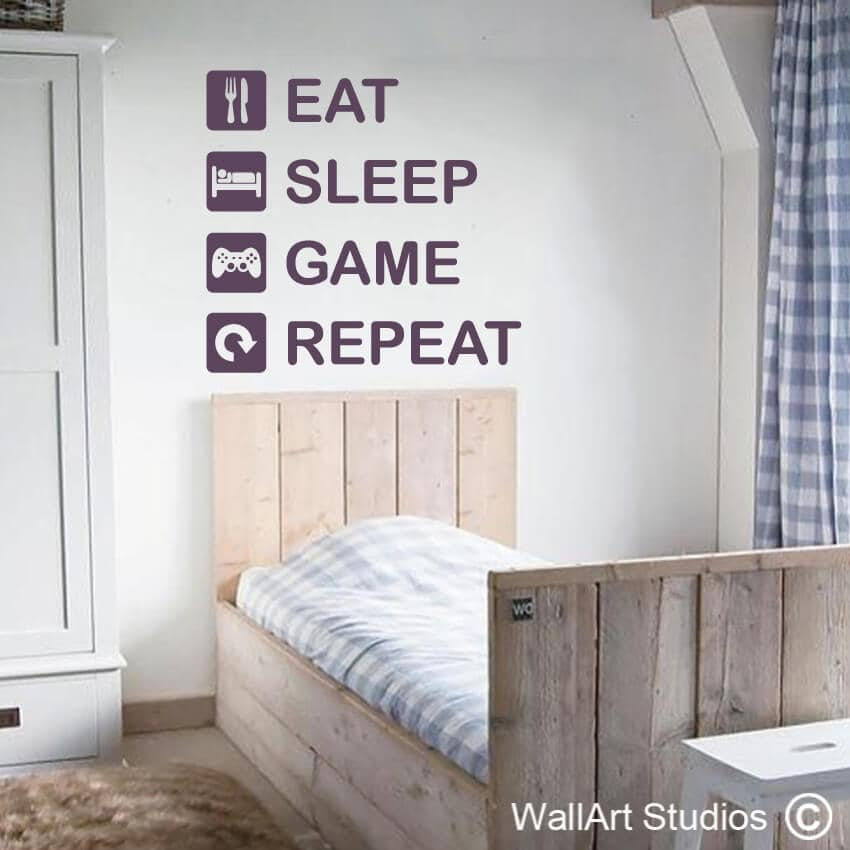 eat sleep game repeat wall decal | gamer wall stickers | wall art studio