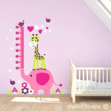 Elephant Growth Chart Wall Decal, height chart, measuring tape, ruler, kids growth charts, nursery decor, kids room decor, giraffe, birds, hearts, flowers, grass, mushrooms, removable vinyl, wall art decor, wall art studios, wall stickers, fun, height, growth, large murals, sticky, cute, cartoon, animals, wall decorations, custom decals, personalized wall art