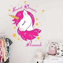 Unicorn Sweet Dreams Wall Decal, unicorns, wall stickers, vinyl wall decals, stars, personlized name, custom decals, wall murals, princess, hearts, magic, sparkle, enchanted, fairy, rainbows, girls room decor, home decor, interior design, wall art, wallart studios