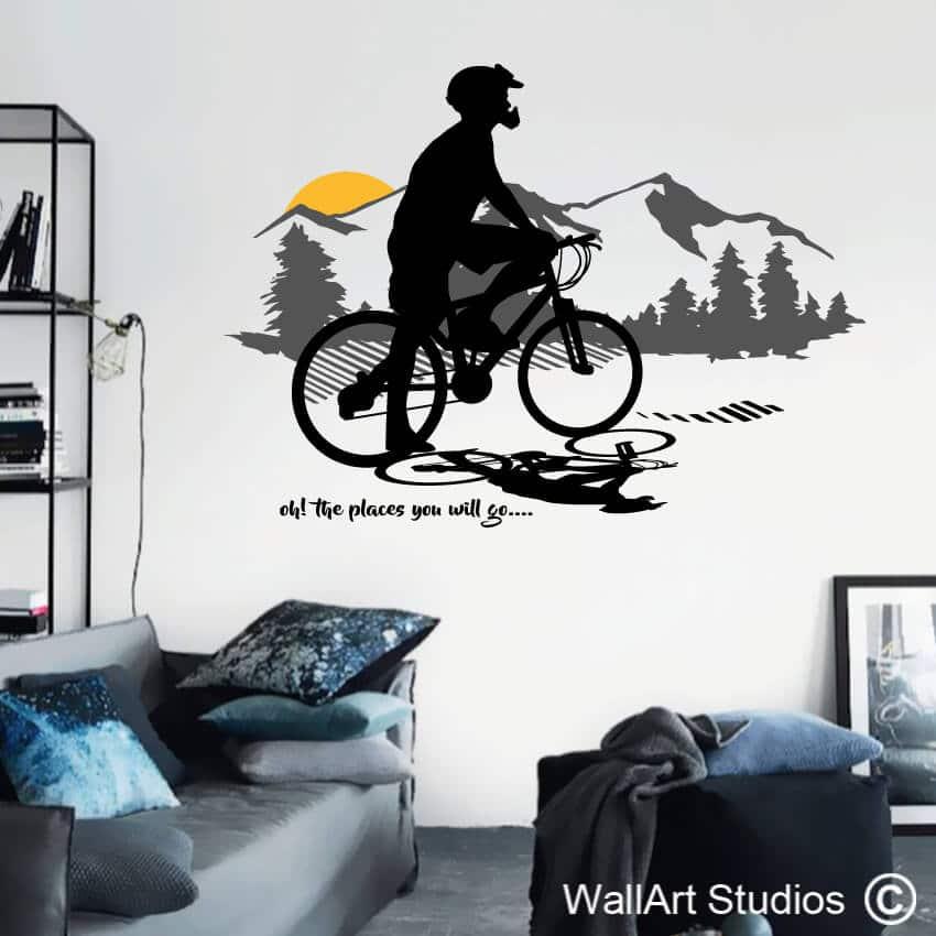 mountain bike sunset wall decal | cycling wall stickers | wall art