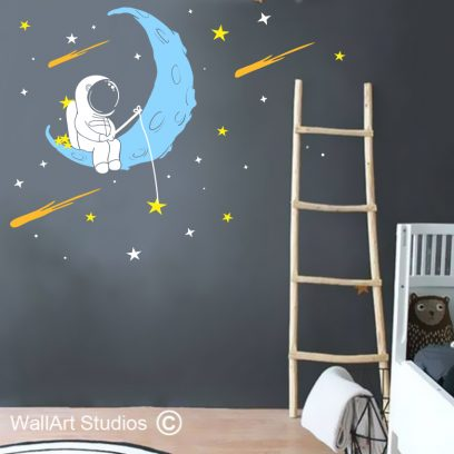 Astronaut Fishing for Stars Wall Decal, boys wall decals, space wall stickers, stars, planets, shooting stars, home decor, nursery decor, wall art studios, custom wall art decals, wall stickers