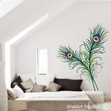 Peacock Feathers Wall Decal, feathers wall stickers, peacock wall decals, birds wall tattoos, home decor, large wall murals, peacock, feather, wall art studios, south africa
