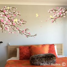 Cherry Blossoms & Birds Wall Decal, flowers wall stickers, home decor, bedroom wall decor, custom wall art, branches, trees