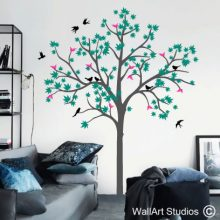 Maple Tree Wall Decal, tree wall decals, decals, wall stickers, birds, berries, leaves, summer, autumn, spring, winter, home decor, wall art, wall decor