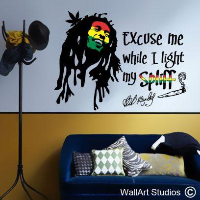 Bob Marley Spliff Wall Sticker, wall art decals, marley, weed, joint, cannabis, wall tattoos, home decor, teens wall art stickers, music wall decor, spliff