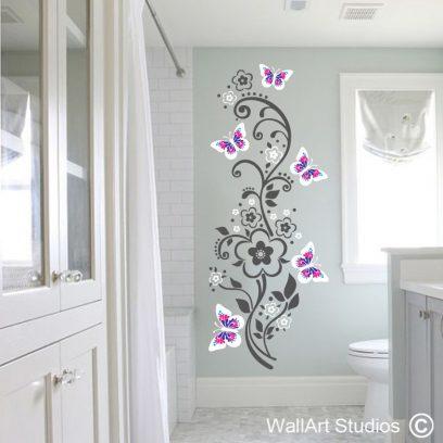 Butterflies Swirls Flowers Wall Sticker, butterfly decals, home decor, floral wall stickers, swirls, dots, flowers, wall art, wall decor, wall stickers, nursery decor, bathroom wall stickers