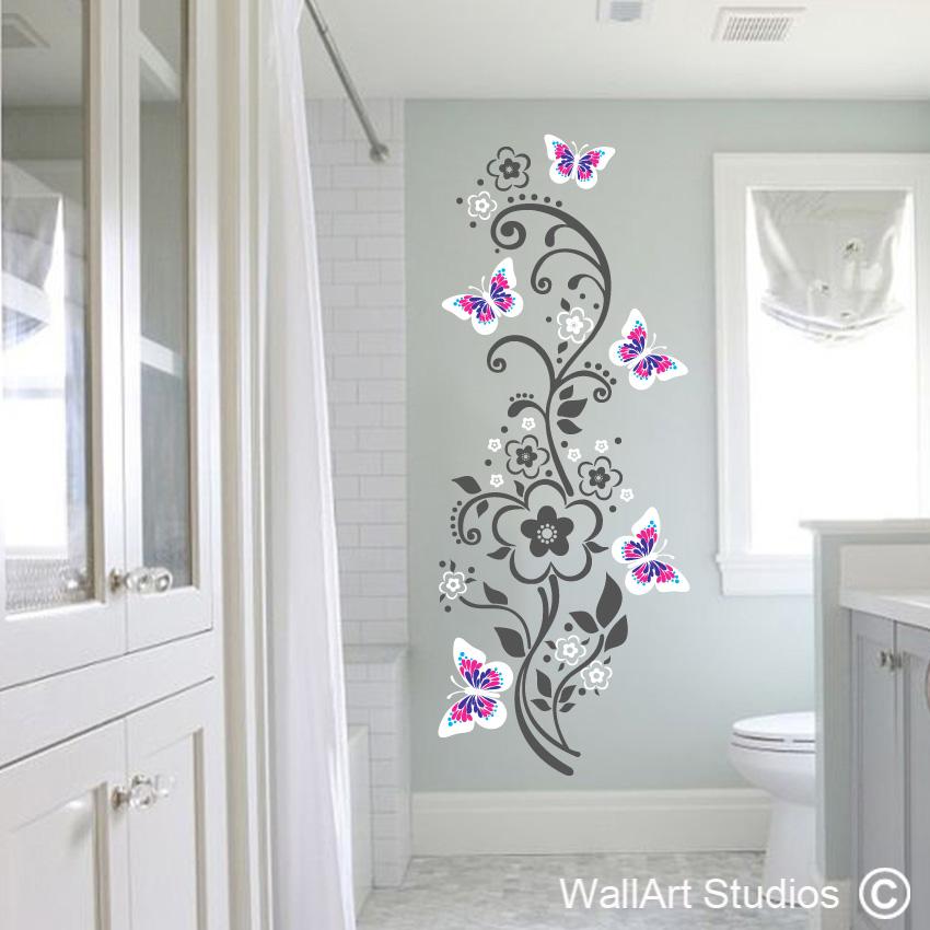 butterflies swirls flowers wall sticker | decals online | wall art