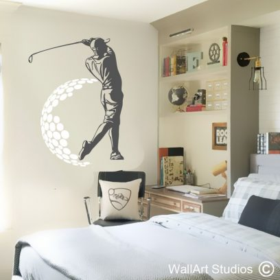Golfer Wall Decal, golf wall stickers, sports wall decals, golfing, golf, golf clubs, wall art, stickers, decals, tattoos, sports wall decals, wall art studios, south africa