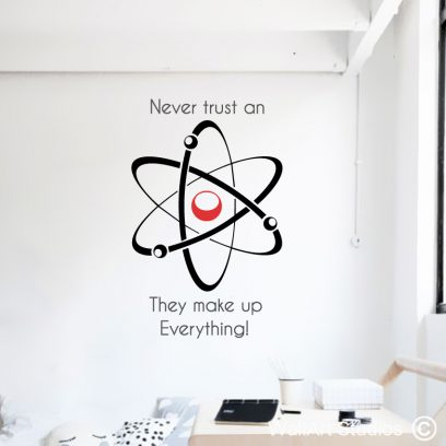 Atom Quote Wall Art Decal, educational wall stickers, science quotes, educational decals, atoms, einstein, school wall stickers, classroom wall vinyls, electrons, protons, neutrons, physics, school decor