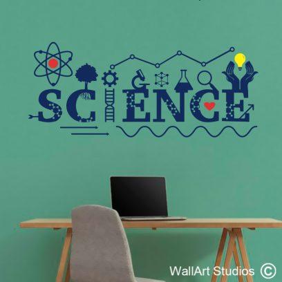 Science Lab Wall Sticker, educational wall decals, educational wall stickers, atoms, school wall stickers, wall art studios, custom wall art tattoos,