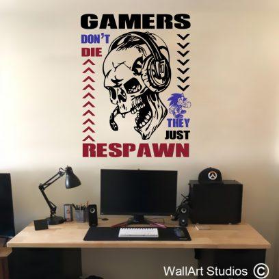 Respawn Gamer Wall Decals, skull vinyl wall stickers, vinyl wall stickers, custom gamer wall decals, boys room decor ideas, wall art studios, sonic the hedgehog wall stickers