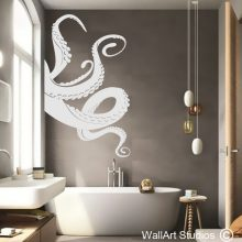 Octopus Tentacles Wall Art Decal, octopus wall stickers, bathroom wall decals, decorative sticker for glass, home decor, wall art studios, custom wall decals, nautical wall decals, marine animals, shower decals, shower stickers