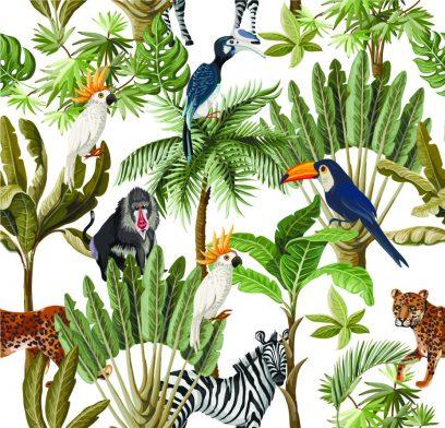 Exotic plants & animals white