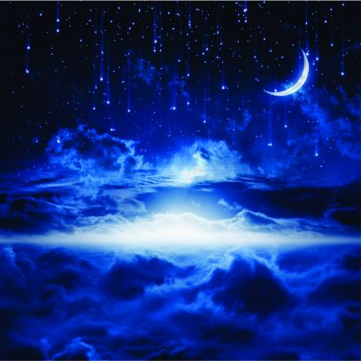 WPFS07 Falling Stars with Moon Wallpaper Mural