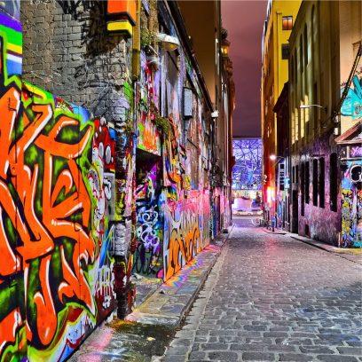 WP/GA06 Graffiti Alley cobbled road