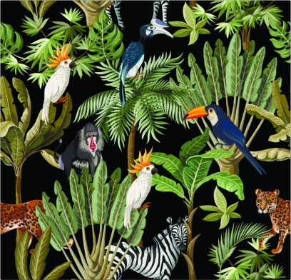 Exotic plants & Animals on Black BG