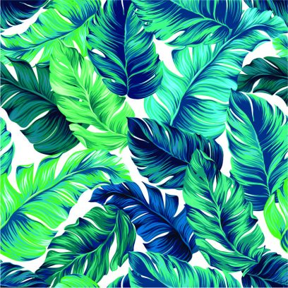 Turquoise palm leaves