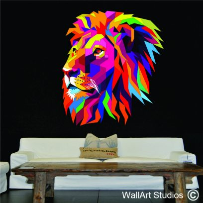 WDL01 - Lion's Head Colourful Wall Art decal