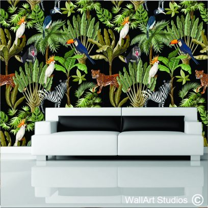 WP2 exotic black jungle wall mural