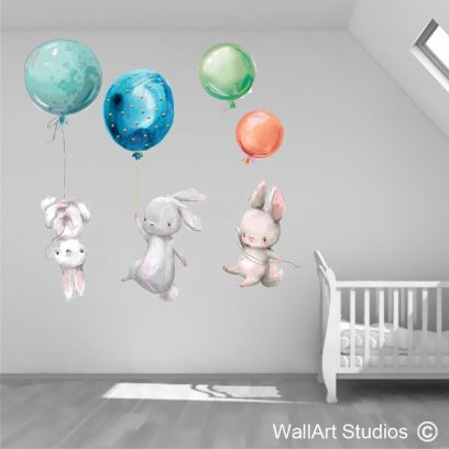 WDBB Bunnies With Balloons Wall Art Decal