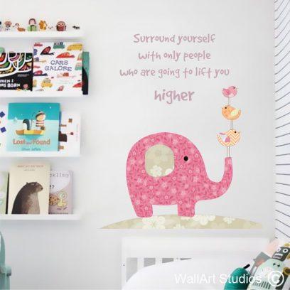 WDEB Elephant & Bird Wall Art Decal