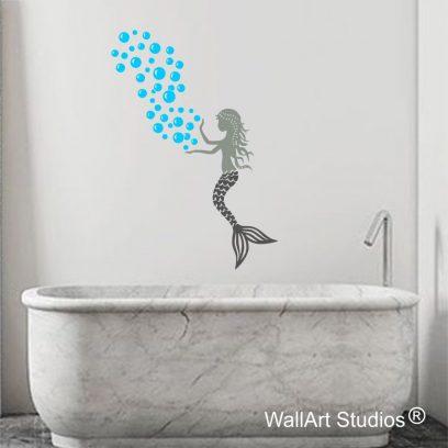 MF01 mermaid bubbles wall art decal sticker