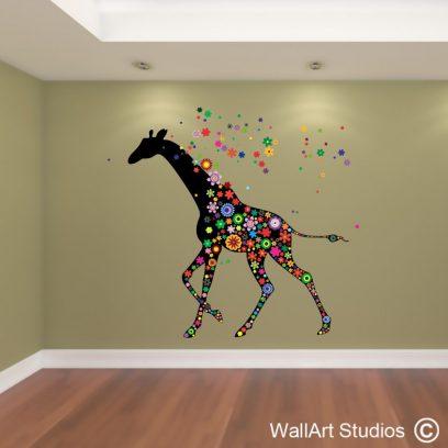 NA38 Giraffe Flower Wall Decal