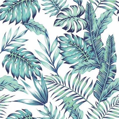 WP09 Blue Palm leaves Wallpaper
