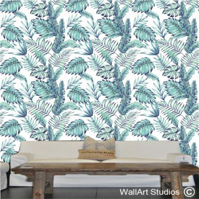 WP09 - Blue & green palm leaves