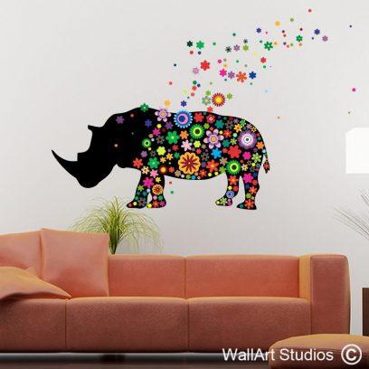 NA37 Rhino Flowers Wall Art Decal Sticker