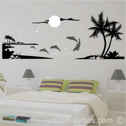 NAU16 Dolphins, sunset, beach wall art decal