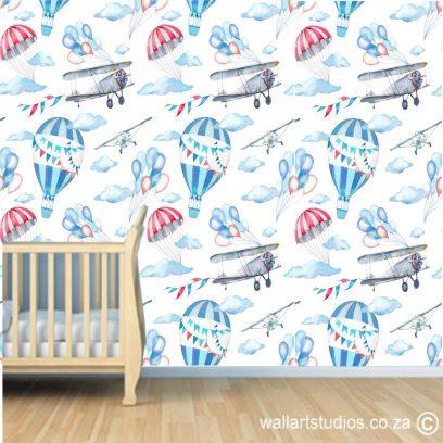 WP14 Bi-Plan & Hot Air Balloon Wallpaper